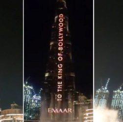 shahrukh khan birthday his name displayed on burj khalifa